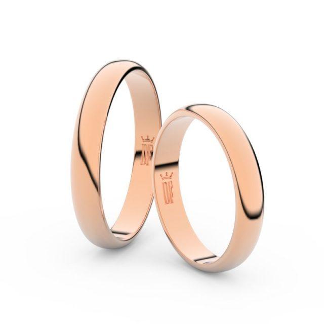 Snubní prsteny z růžového zlata, 3.5 mm, pár – Danfil DF 2B35