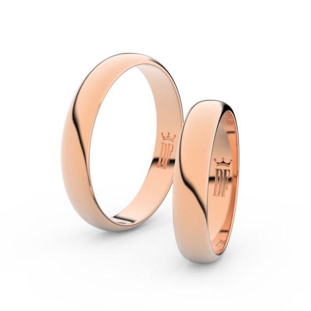 Snubní prsteny z růžového zlata, 4 mm, pár – Danfil DF 2C40