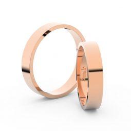 Snubní prsteny z růžového zlata, 4 mm, pár - Danfil DF 1G40
