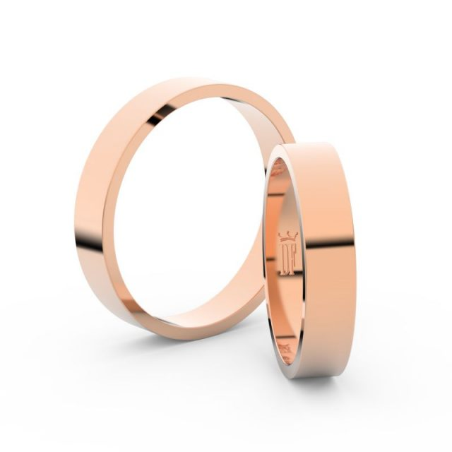 Snubní prsteny z růžového zlata, 4 mm, pár – Danfil DF 1G40