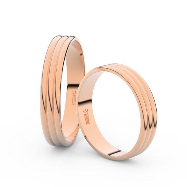 Snubní prsteny z růžového zlata, 4 mm, pár – Danfil DF 4K37