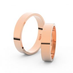 Snubní prsteny z růžového zlata, 4.5 mm, pár, Danfil DF 1G45