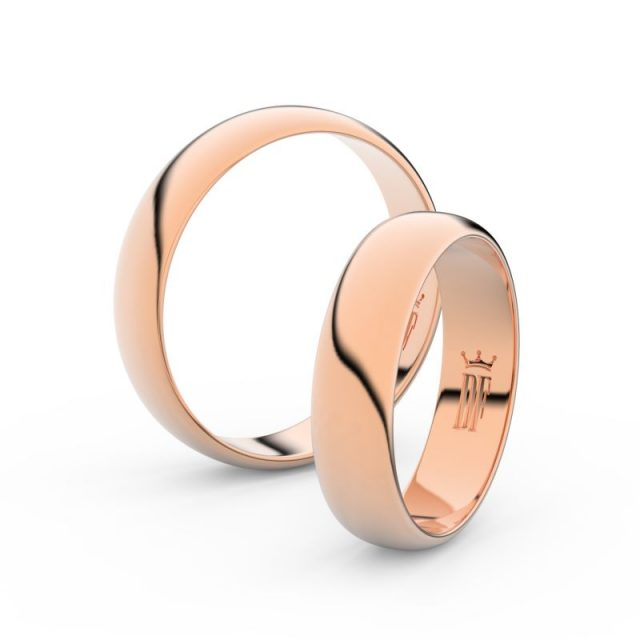 Snubní prsteny z růžového zlata, 4.7 mm, pár – Danfil DF 2E50