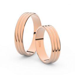Snubní prsteny z růžového zlata, 4.7 mm, pár - Danfil DF 4J47