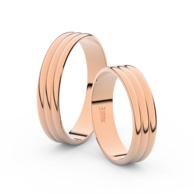 Snubní prsteny z růžového zlata, 4.7 mm, pár – Danfil DF 4J47