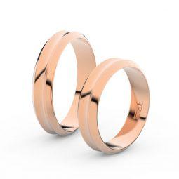 Snubní prsteny z růžového zlata, 4.8 mm, pár - Danfil DF 4B45