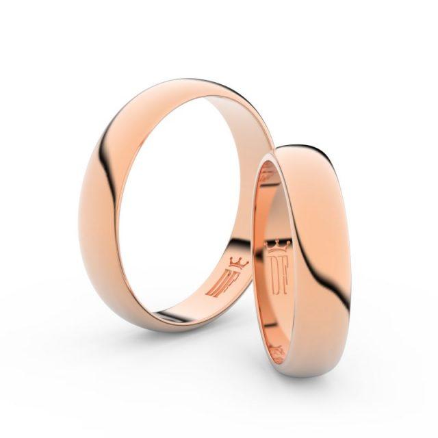 Snubní prsteny z růžového zlata, 4,5 mm, pár, Danfil DF 2D45