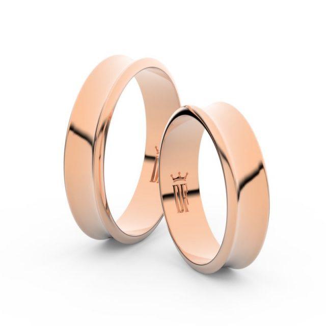Snubní prsteny z růžového zlata, 5 mm, pár – Danfil DF 5A50