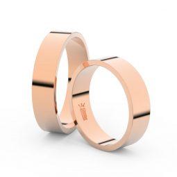 Snubní prsteny z růžového zlata, 5 mm, plochý, pár - Danfil DF 1G50