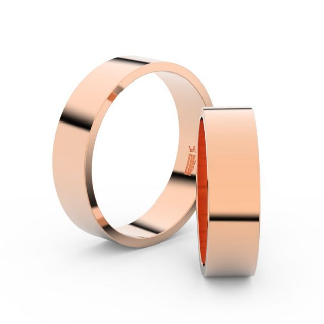Snubní prsteny z růžového zlata, 5.5 mm, pár – Danfil DF 1G55