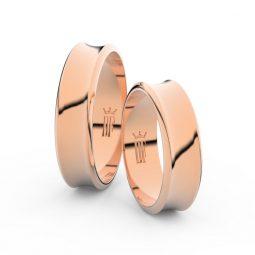 Snubní prsteny z růžového zlata, 5.6 mm, pár - Danfil DF 5C57
