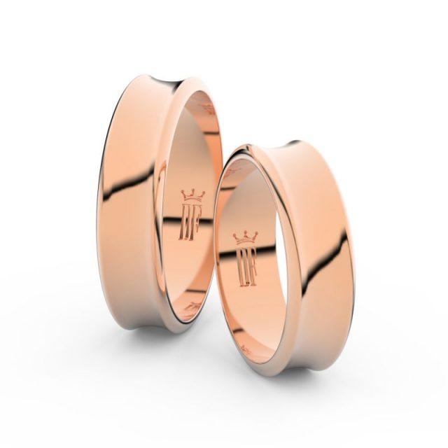 Snubní prsteny z růžového zlata, 5.6 mm, pár – Danfil DF 5C57