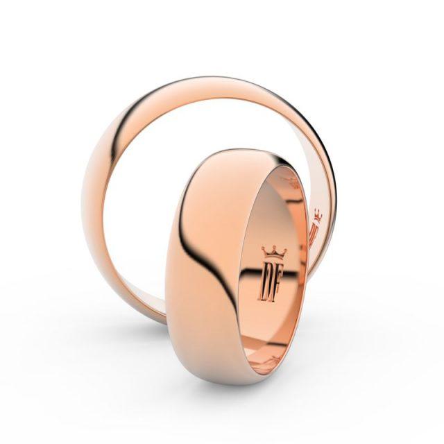 Snubní prsteny z růžového zlata, 6 mm, pár – Danfil DF 3A60