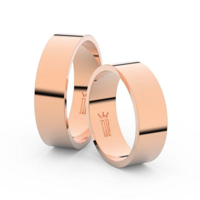 Snubní prsteny z růžového zlata, 6 mm, pár – Danfil DF 1G60