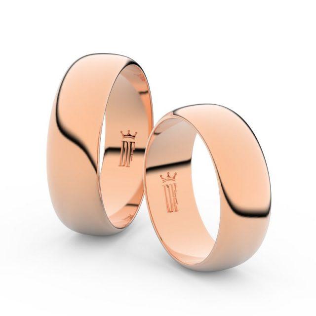 Snubní prsteny z růžového zlata, 6.5 mm, pár – Danfil DF 3B65