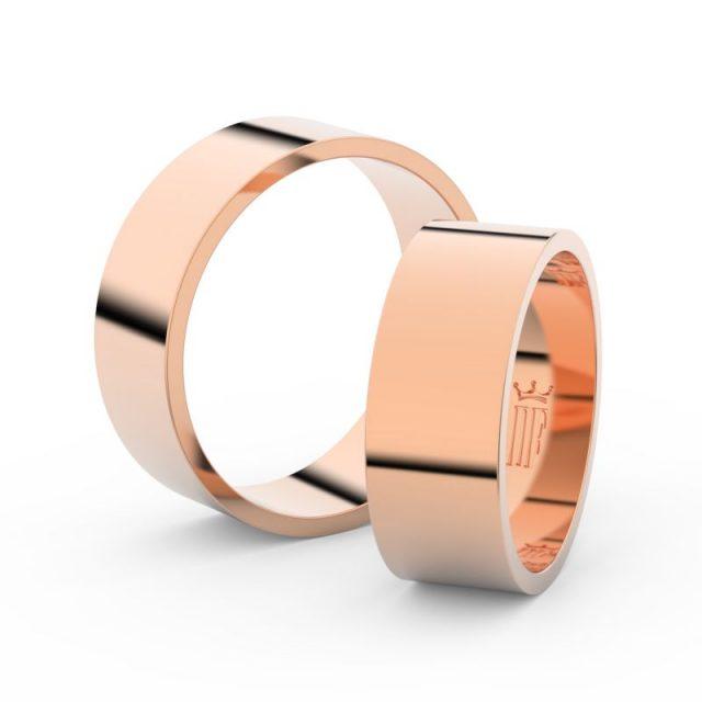 Snubní prsteny z růžového zlata, 7 mm, pár – Danfil DF 1G70