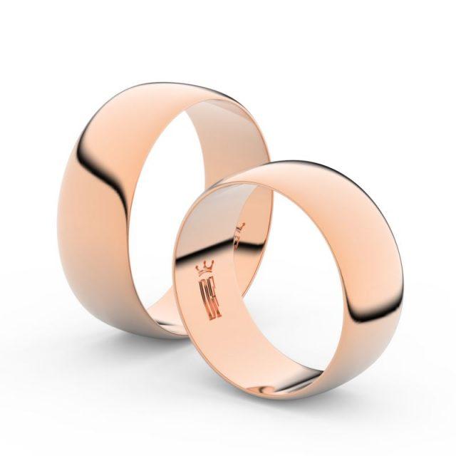 Snubní prsteny z růžového zlata, 7.5 mm, pár, Danfil DF 9B80