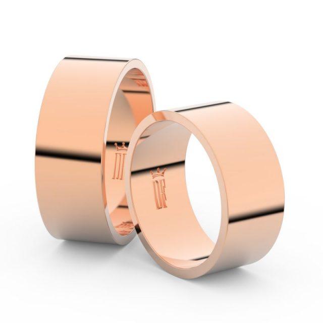 Snubní prsteny z růžového zlata, 8 mm, pár, Danfil DF 1G80