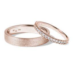 Snubní prsteny z růžového zlata s diamanty 0,25 ct, pár, Klenota