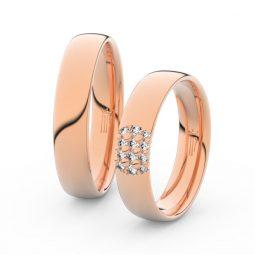 Snubní prsteny z růžového zlata s brilianty, pár - Danfil DF 3020