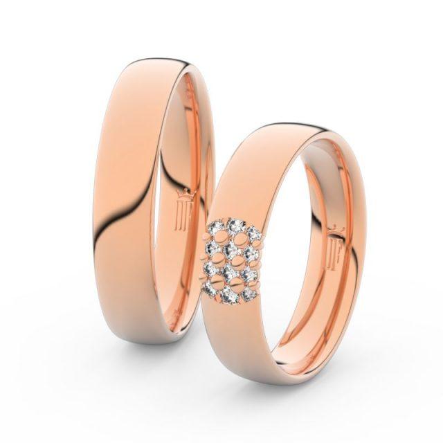 Snubní prsteny z růžového zlata s brilianty, pár – Danfil DF 3020