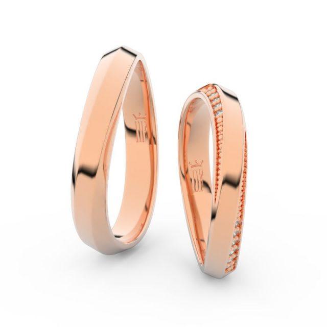 Snubní prsteny z růžového zlata s brilianty, pár – Danfil DF 3023
