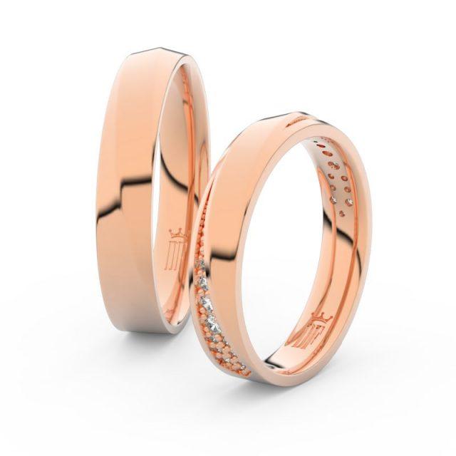 Snubní prsteny z růžového zlata s brilianty, pár – Danfil DF 3025