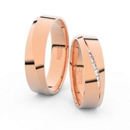Snubní prsteny z růžového zlata s brilianty, pár - Danfil DF 3034