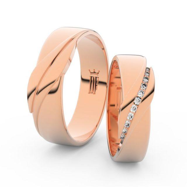 Snubní prsteny z růžového zlata s brilianty, pár – Danfil DF 3039