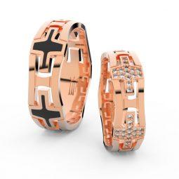 Snubní prsteny z růžového zlata s brilianty, pár - Danfil DF 3042
