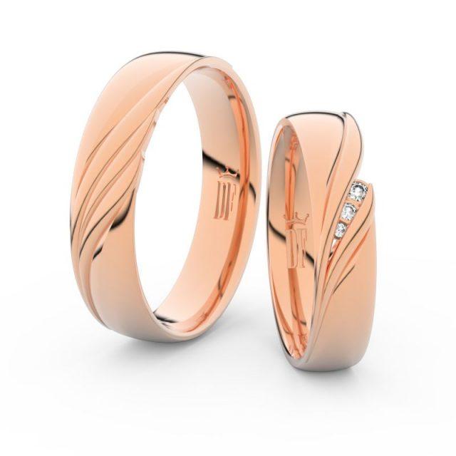 Snubní prsteny z růžového zlata s brilianty, pár – Danfil DF 3044