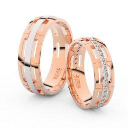 Snubní prsteny z růžového zlata s brilianty, pár - Danfil DF 3048