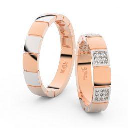 Snubní prsteny z růžového zlata s brilianty, pár - Danfil DF 3057