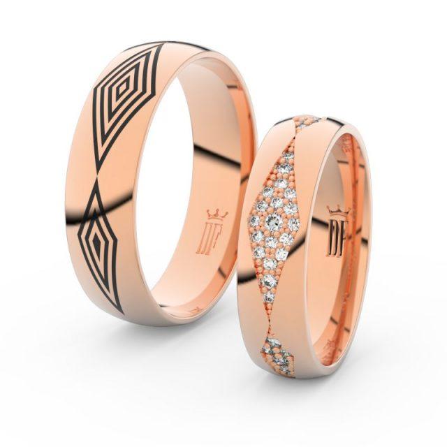 Snubní prsteny z růžového zlata s brilianty, pár – Danfil DF 3074