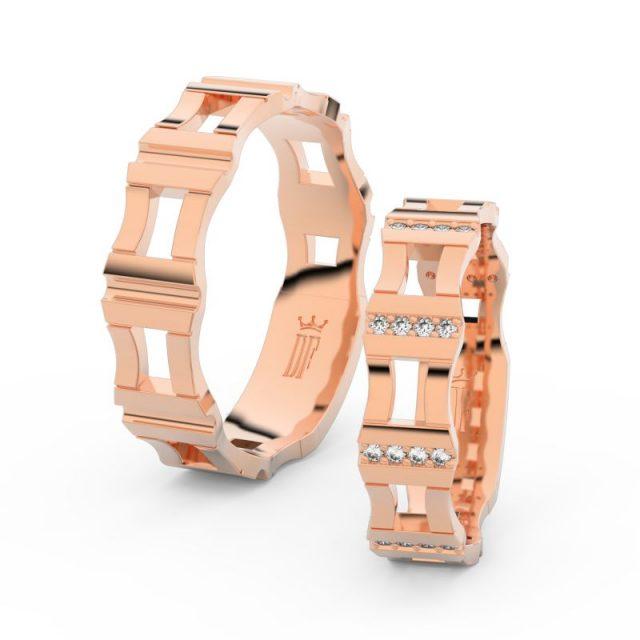 Snubní prsteny z růžového zlata s brilianty, pár – Danfil DF 3084