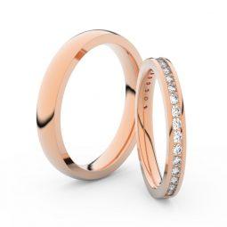 Snubní prsteny z růžového zlata s brilianty, pár Danfil DF 3893