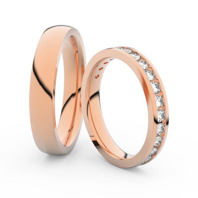 Snubní prsteny z růžového zlata s brilianty, pár Danfil 3894