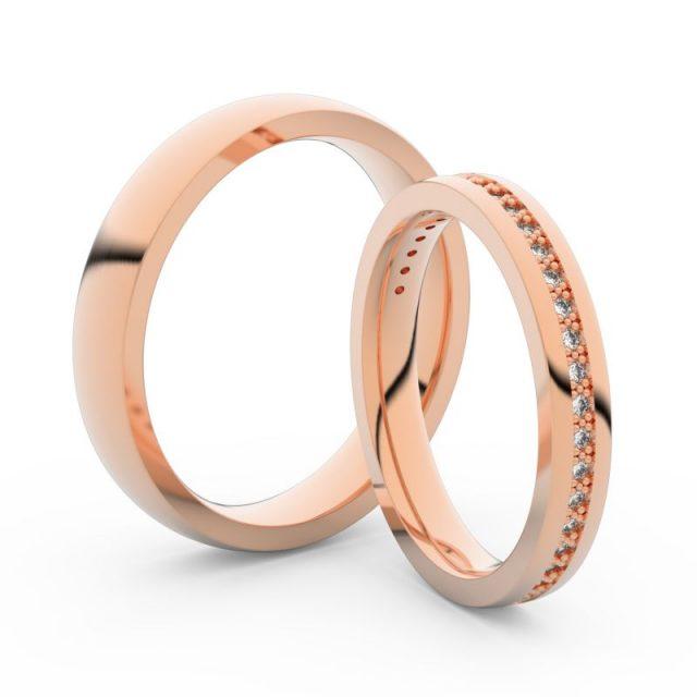 Snubní prsteny z růžového zlata s brilianty, pár Danfil DF 3896