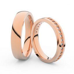 Snubní prsteny z růžového zlata s brilianty, pár - Danfil DF 3897