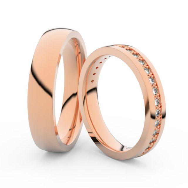 Snubní prsteny z růžového zlata s brilianty, pár – Danfil DF 3897