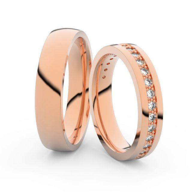 Snubní prsteny z růžového zlata s brilianty, pár Danfil DF 3898