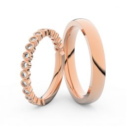 Snubní prsteny z růžového zlata s brilianty, pár Danfil DF 3899