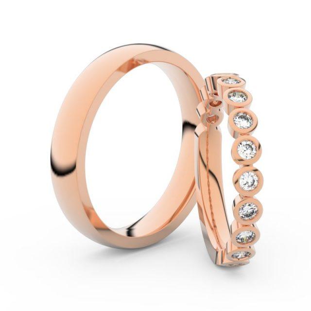 Snubní prsteny z růžového zlata s brilianty, pár Danfil DF 3900