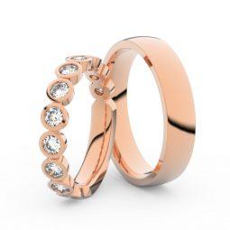 Snubní prsteny z růžového zlata s brilianty, pár Danfil DF 3901