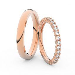 Snubní prsteny z růžového zlata s brilianty, pár Danfil DF 3902