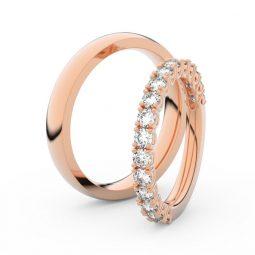 Snubní prsteny z růžového zlata s brilianty, pár Danfil DF 3903