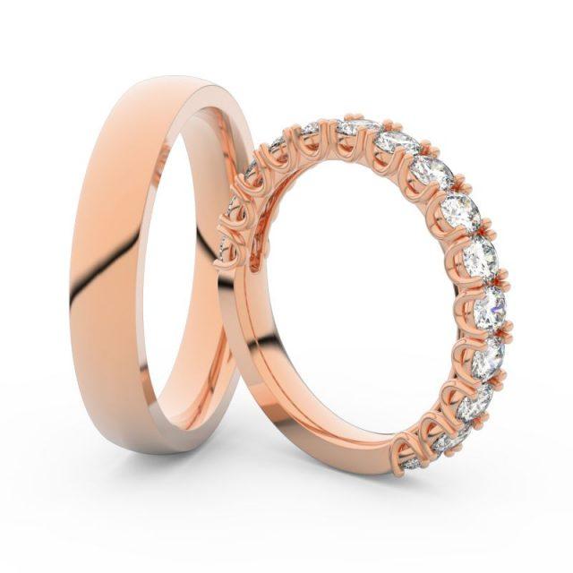 Snubní prsteny z růžového zlata s brilianty, pár Danfil DF 3904