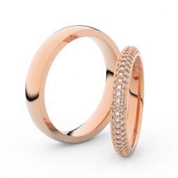 Snubní prsteny z růžového zlata s brilianty, pár Danfil DF 3911