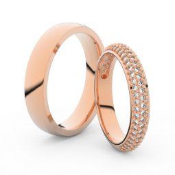 Snubní prsteny z růžového zlata s brilianty, pár Danfil DF 3918