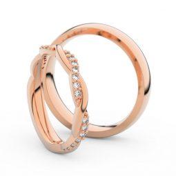 Snubní prsteny z růžového zlata s brilianty, pár Danfil DF 3952